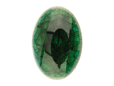 Keramik, Ovaler Cabochon, 18x13mm, Crackle-finish, Grün