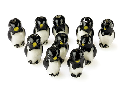 Pinguine, Normal, 10er-pack, 20x10x12mm, Keramik, Handbemalt