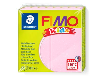 Fimo Kids Polymer-modelliermasse, Perlglanz Rosa, 42-g-block, Fimo-farbe Nr.206