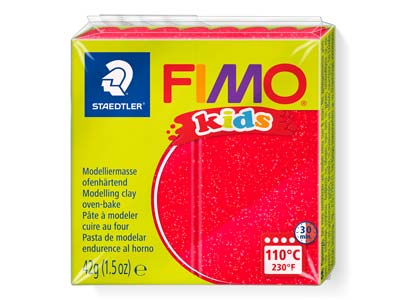 Fimo Kids Polymer-modelliermasse, Glitter Rot, 42-g-block, Fimo-farbe Nr.212