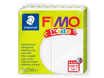 Fimo Kids Polymer-modelliermasse, Glitter Silber, 42-g-block, Fimo-farbe Nr.812