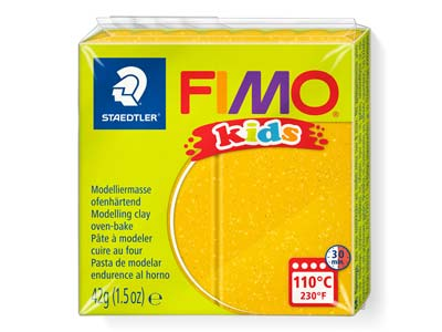 Fimo Kids Polymer-modelliermasse, Glitter Gold, 42-g-block, Fimo-farbe Nr.112