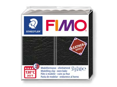 Fimo Leather Effect Schwarz 57 G Polymer-modelliermasse Block Fimo Farbreferenz 909