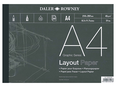 Daler Rowney Layout-pad, Serie A, A4, 80blätter, 45g