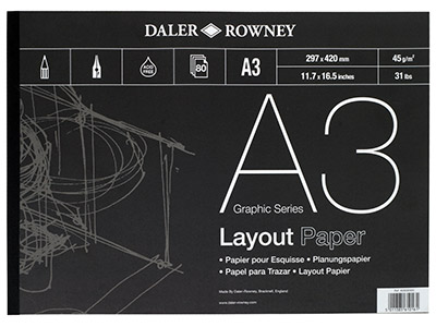 Daler Rowney Layout-pad, Serie A, A3, 80blätter, 45gm
